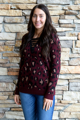 PUR AND SIMPLE BURGUNDY LEOPARD SWEATER