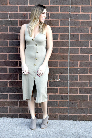 ALL BUTTONED UP SAGE MIDI DRESS