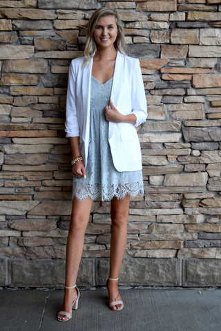 SHE MEANS BUSINESS BLAZER: WHITE