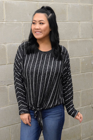 LET IT BE CHARCOAL STRIPED TOP