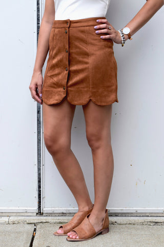 BE PERSUEDED CAMEL SKIRT