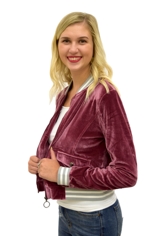 CRUSHING HARD BERRY BOMBER JACKET