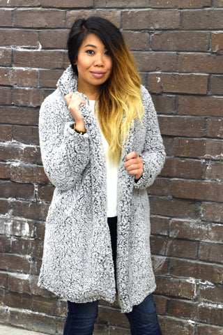 BLACK AND WHITE AND COZY ALL OVER SHERPA COAT