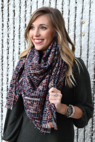 BURGUNDY MULTICOLORED PLAID BLANKET SCARF
