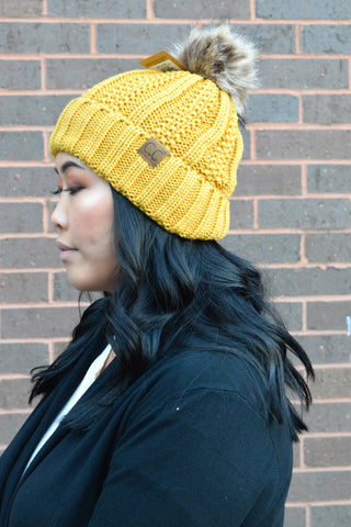 CC BEANIE FLEECE LINED POM: MUSTARD