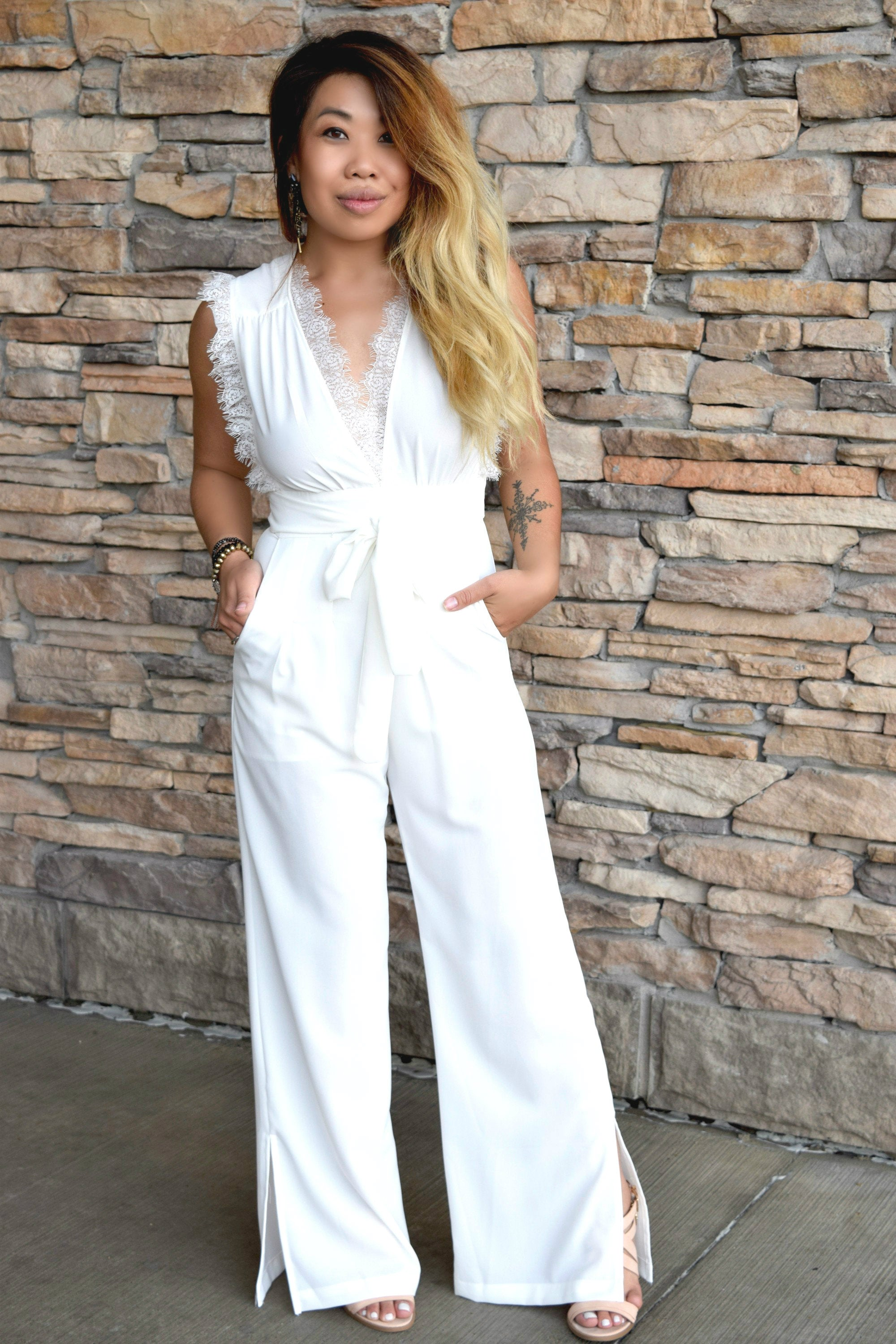 PULL IT OFF JUMPSUIT: WHITE