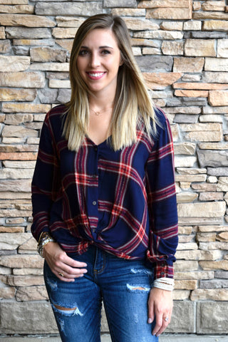 MAD FOR PLAID NAVY & RED TOP