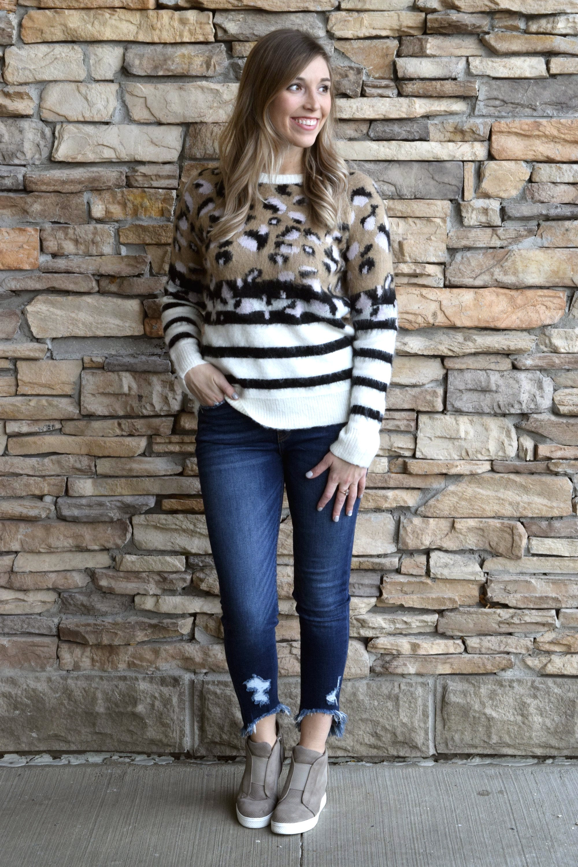 3b8b65ef9ea00 ON THE HUNT LEOPARD STRIPED SWEATER – Apricot Lane Boutique - Des Moines