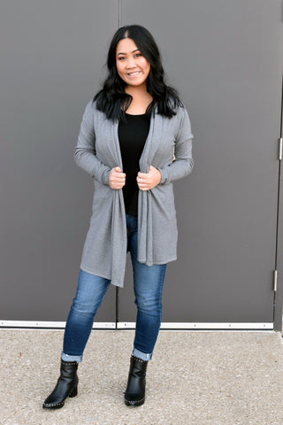 FOREVER FALL CARDIGAN: CHARCOAL