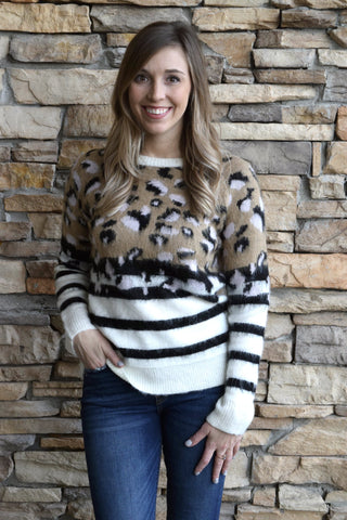 ON THE HUNT LEOPARD STRIPED SWEATER