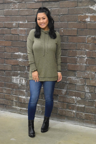 DAYDREAMS OLIVE COWL NECK SWEATER