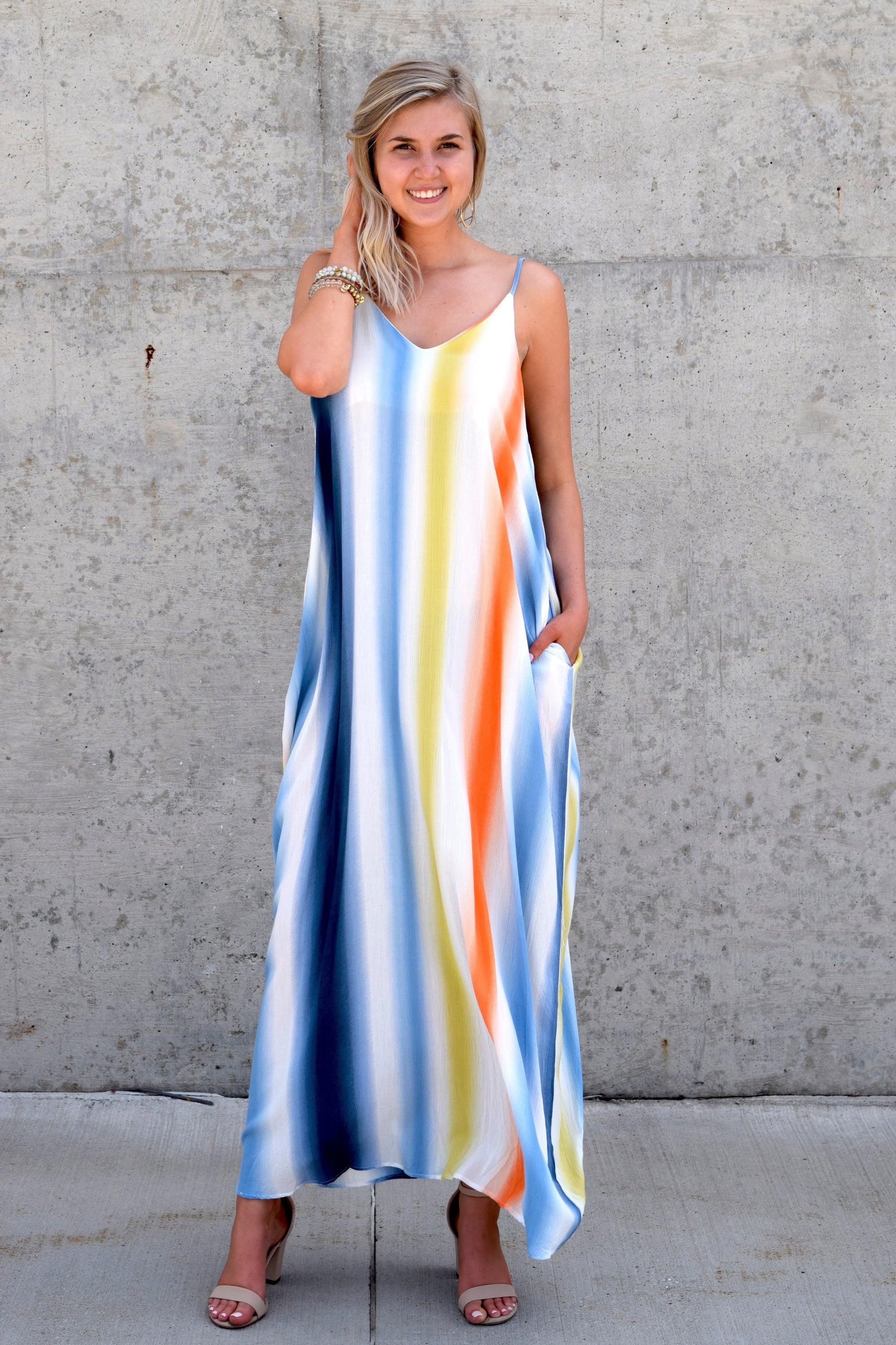 LIVE COLORFULLY STRIPED MAXI DRESS