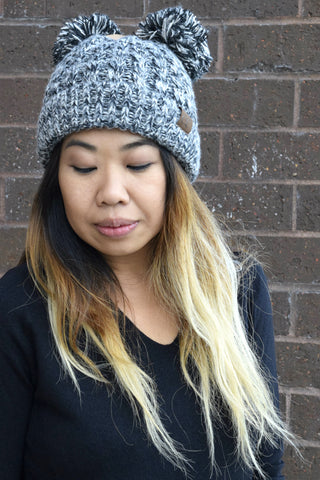DOUBLE POM CC BEANIE: BLACK AND WHITE