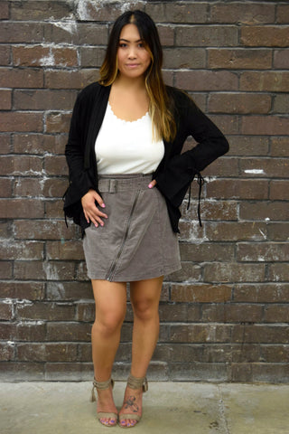 TOP OF THE CLASS GREY CORDUROY SKIRT