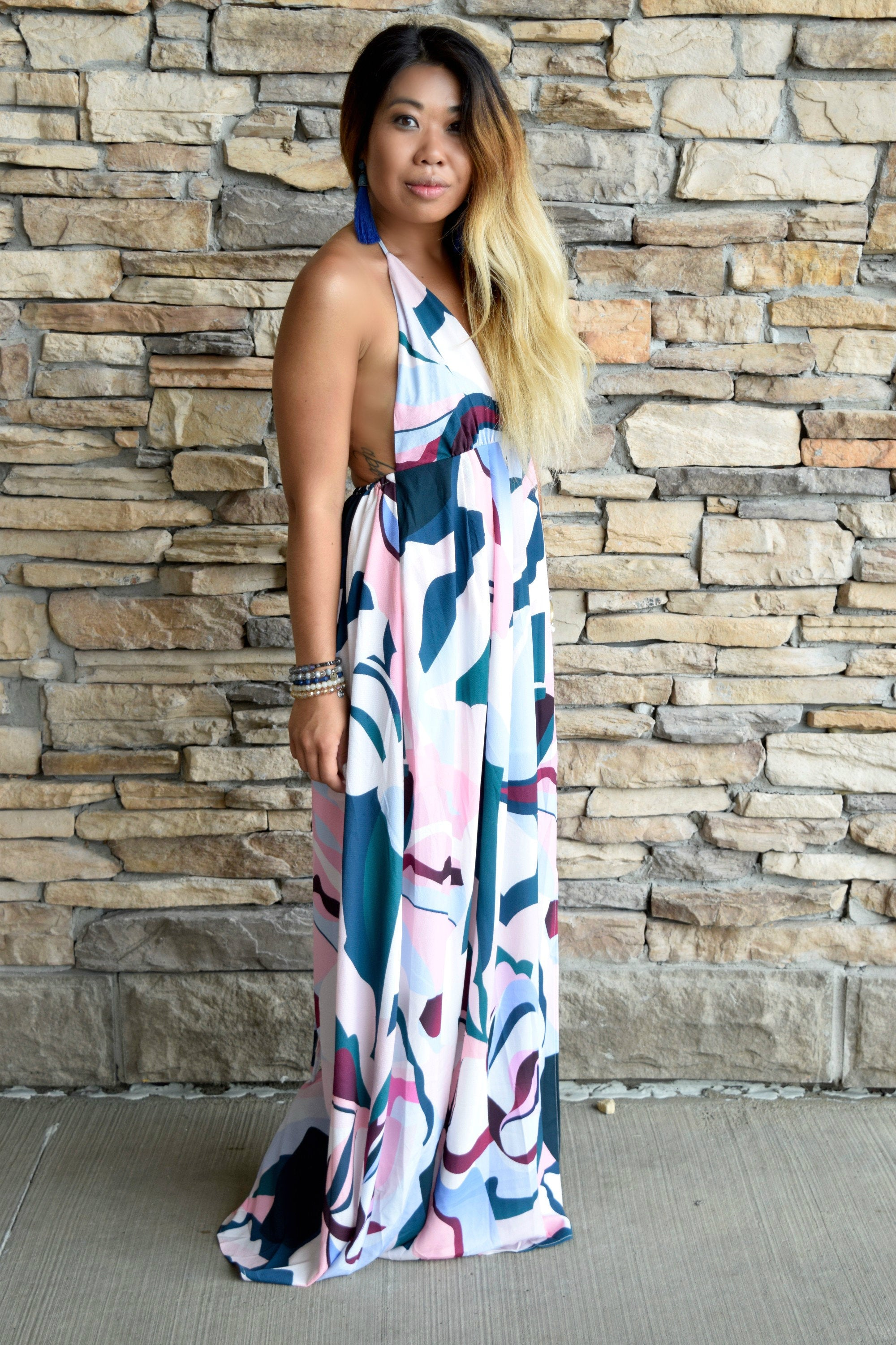 MAX IT OUT ABSTRACT MAXI DRESS