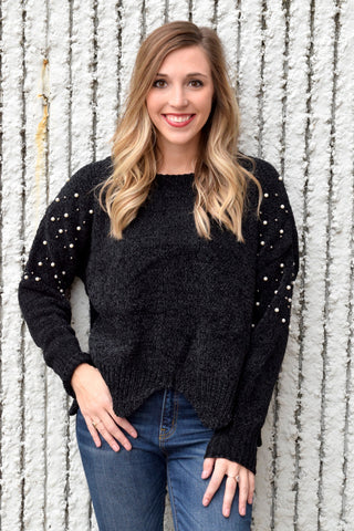 MOTHER OF PEARL CHENILLE BLACK SWEATER