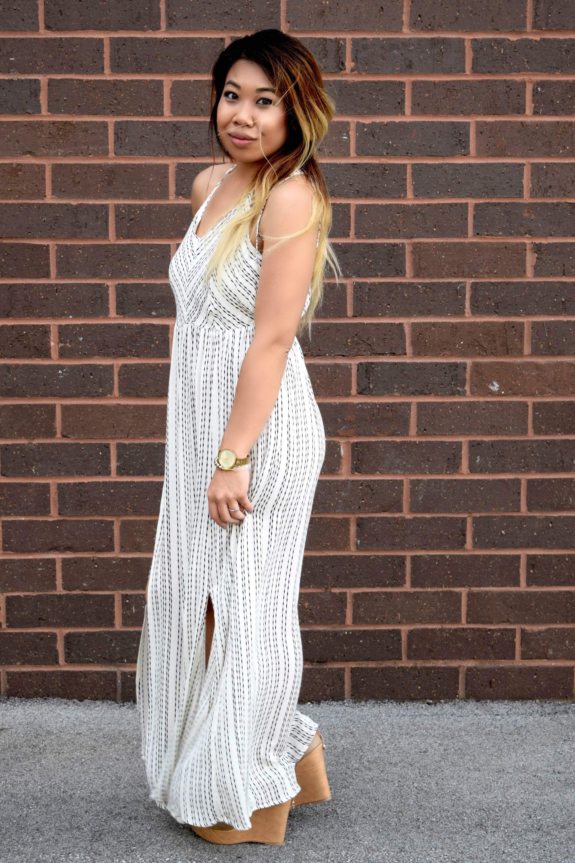 BEST INTENTIONS WHITE STRIPED MAXI DRESS