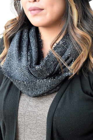 BLACK SPECKLED INFINITY SCARF