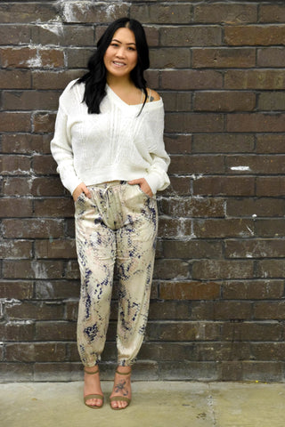 TIME TO STRIKE SNAKE PRINT JOGGERS