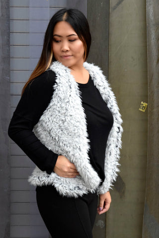 STRIKE IT RICH GREY VEGAN FUR VEST