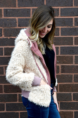 FUR ALL WE KNOW NATURAL SHERPA COAT