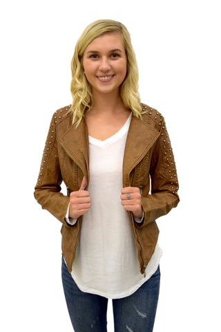 WHAT A STUD COGNAC VEGAN LEATHER JACKET