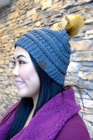 METALLIC CC POM BEANIE: DARK GREY