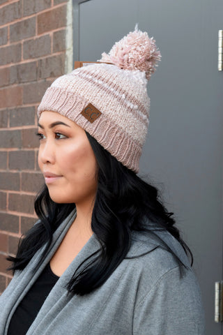 CC BEANIE STRIPE FLEECE LINED POM: ROSE SHIMMER
