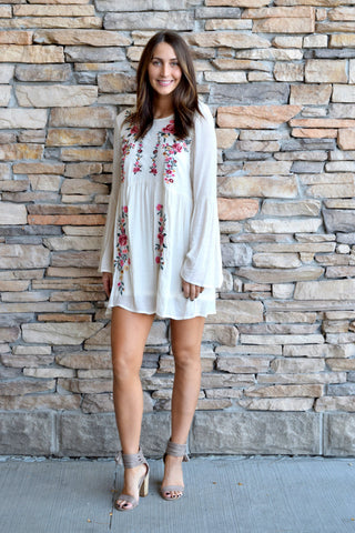 BOHO BABE CREAM FLORAL DRESS