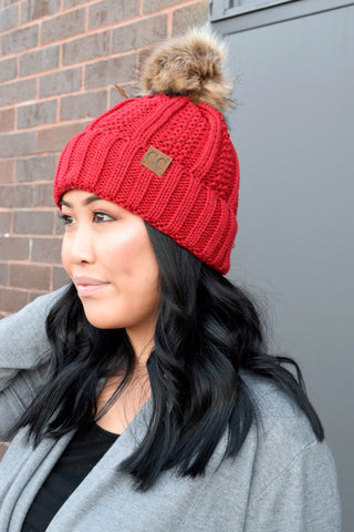 CC BEANIE FLEECE LINED POM: RED