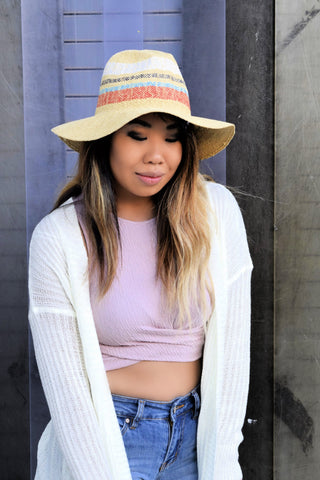 OFF THE TOP OF YOUR HEAD RAFFIA HAT: TAN