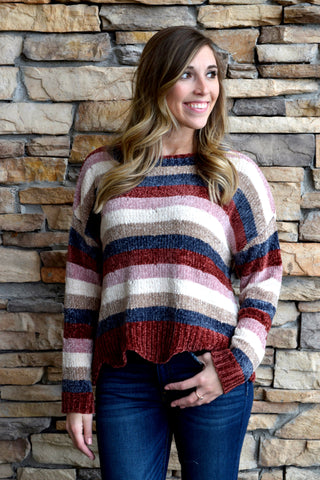 GET THE HANG OF KNIT CHENILLE STRIPED SWEATER