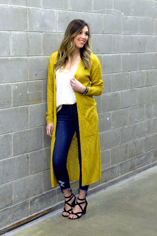 LEAVE 'EM IN THE DUSTER CARDIGAN: MUSTARD