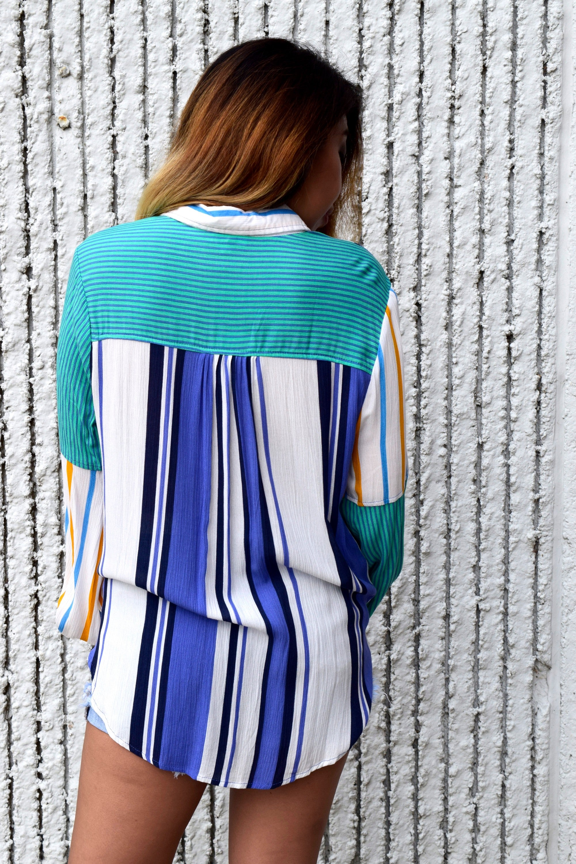 BOWL ME OVER BLUE STRIPED TOP