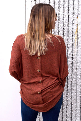 STAYING TOGETHER RUST BUTTON BACK TOP