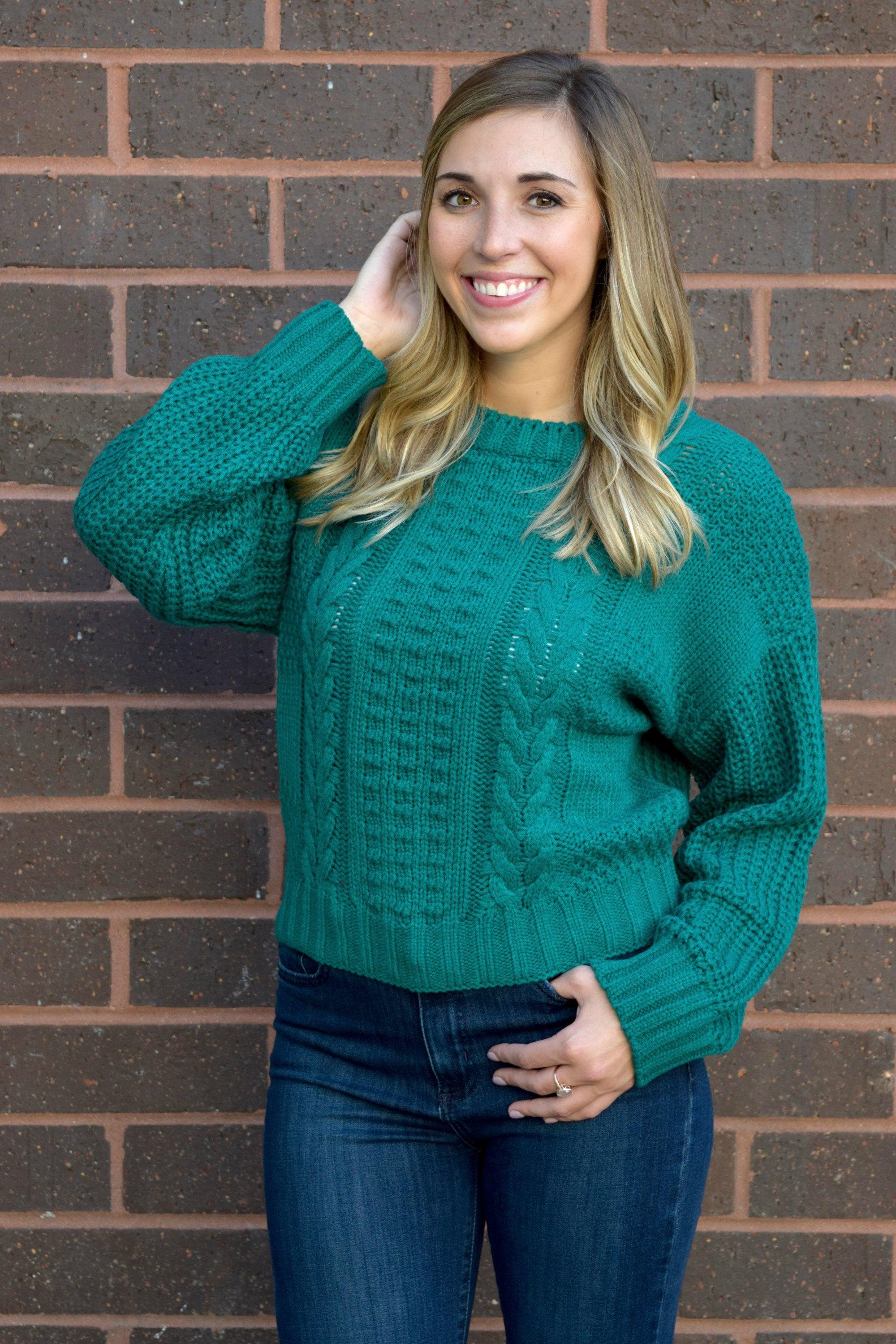 JADED CABLE KNIT SWEATER