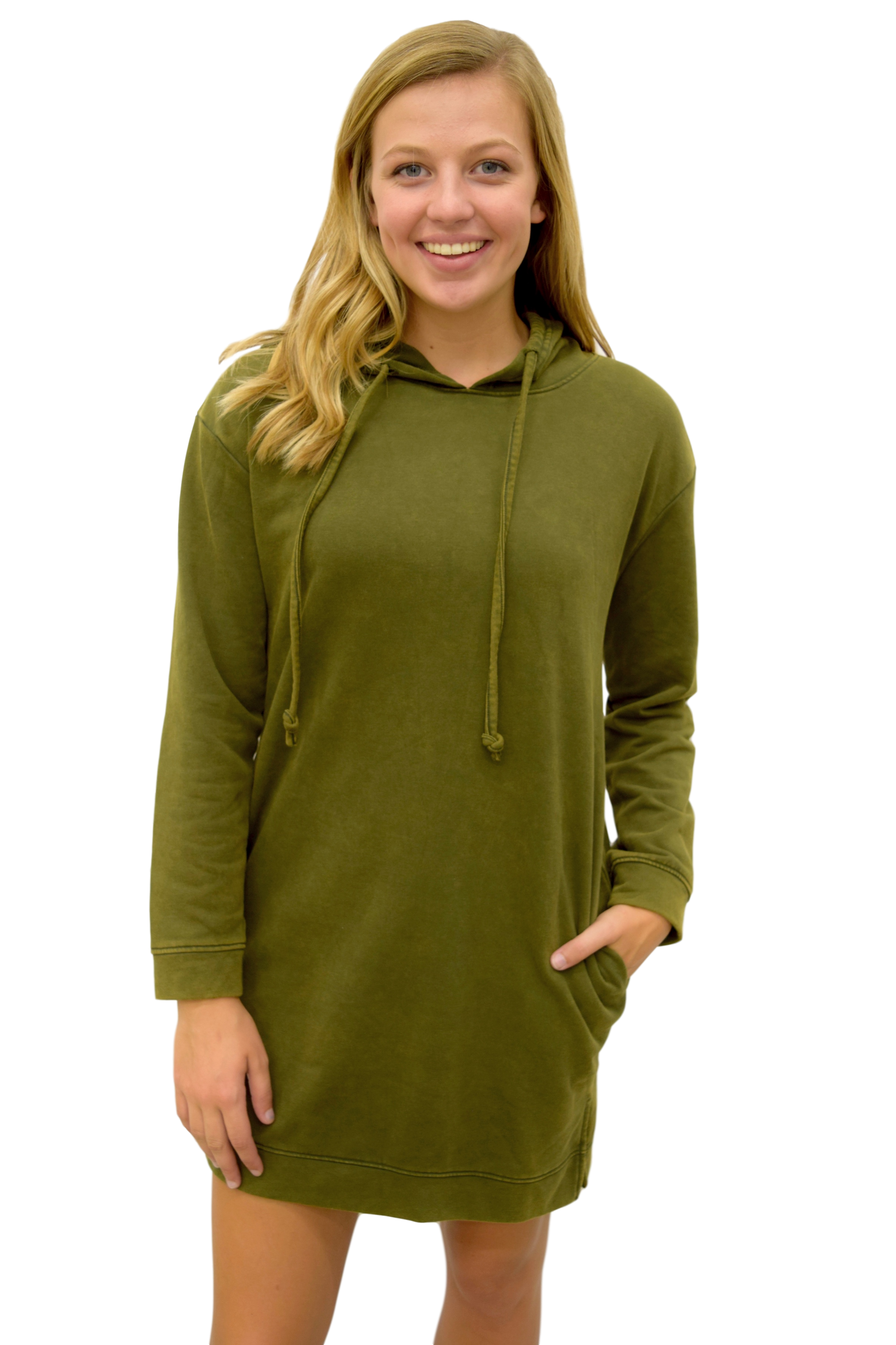 LIFE IN OVERSIZE OLIVE HOODIE DRESS