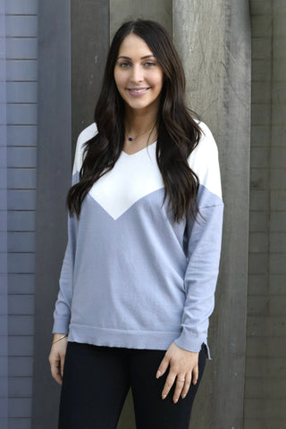 BLUE SKIES COLOR BLOCK SWEATER
