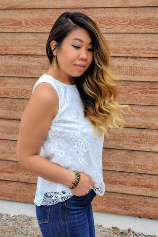 LACE NOT TALK ABOUT IT WHITE TANK