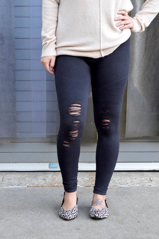 ROUGH STUFF BLACK DISTRESSED LEGGINGS