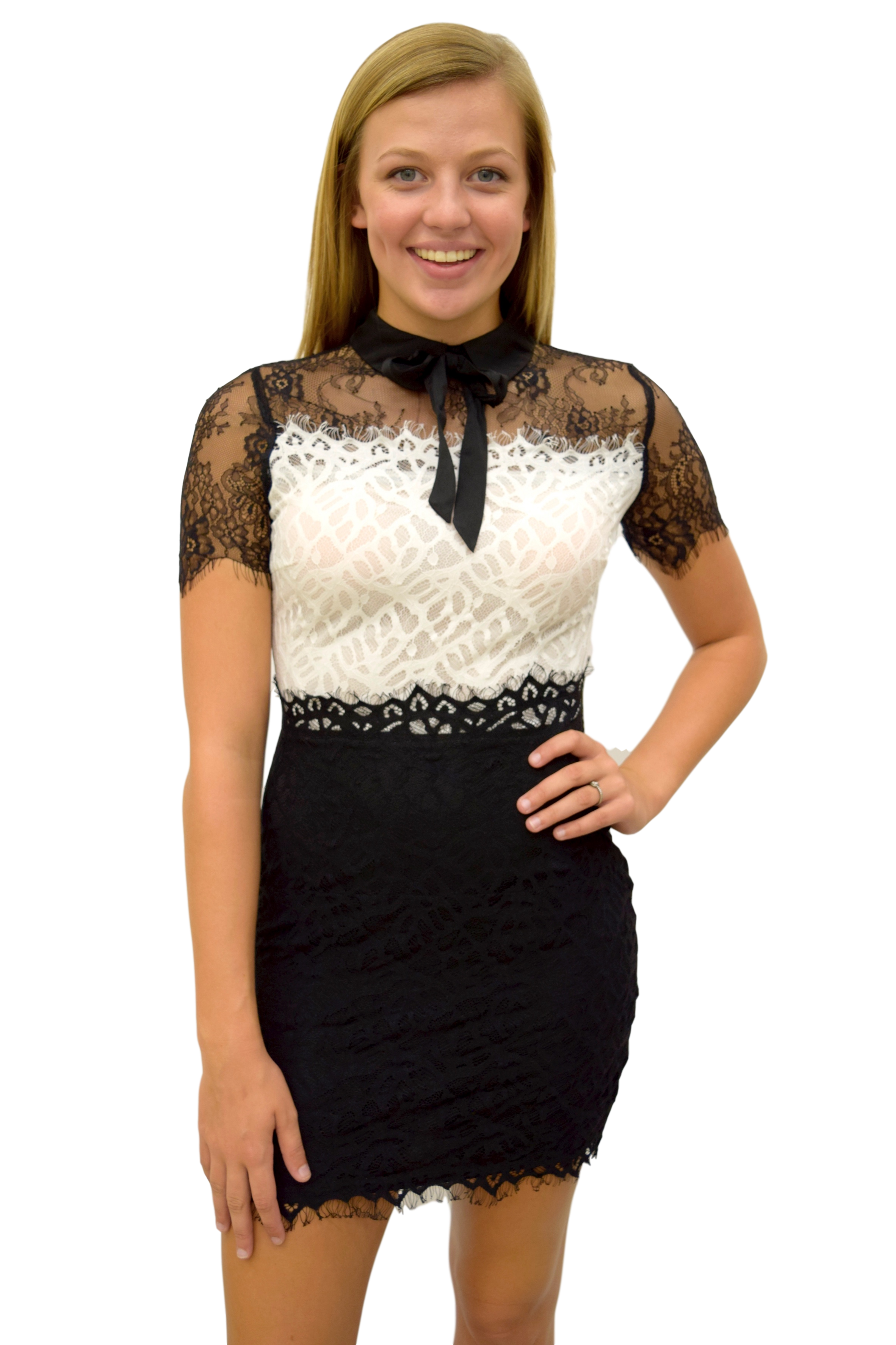 BLACK AND WHITE AND LACE ALL OVER COLLARED DRESS