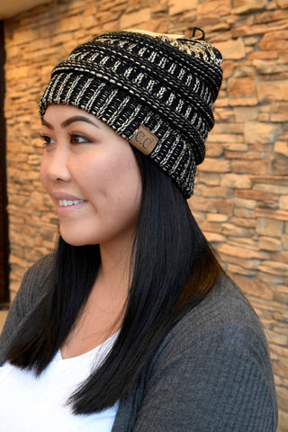 METALLIC CC BEANIE: BLACK & GOLD