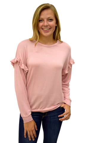 PRETTY IN PINK RUFFLE SLEEVE SWEATSHIRT