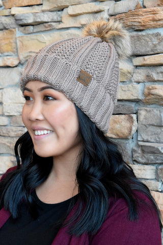 CC BEANIE FLEECE LINED POM: TAUPE