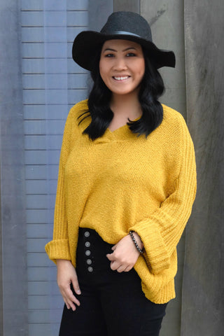 KNITTY GRITTY MUSTARD SWEATER