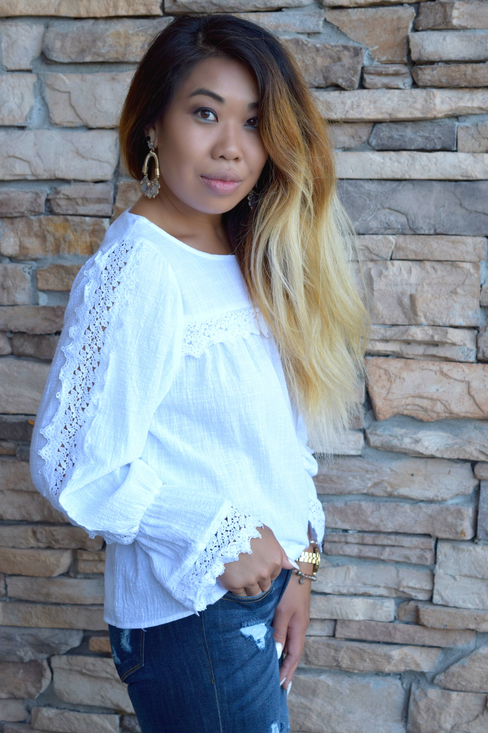 MISS PROPER WHITE LACE DETAIL TOP
