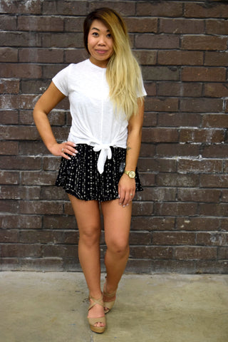 LIFE IS SHORT BLACK PRINT SHORTS