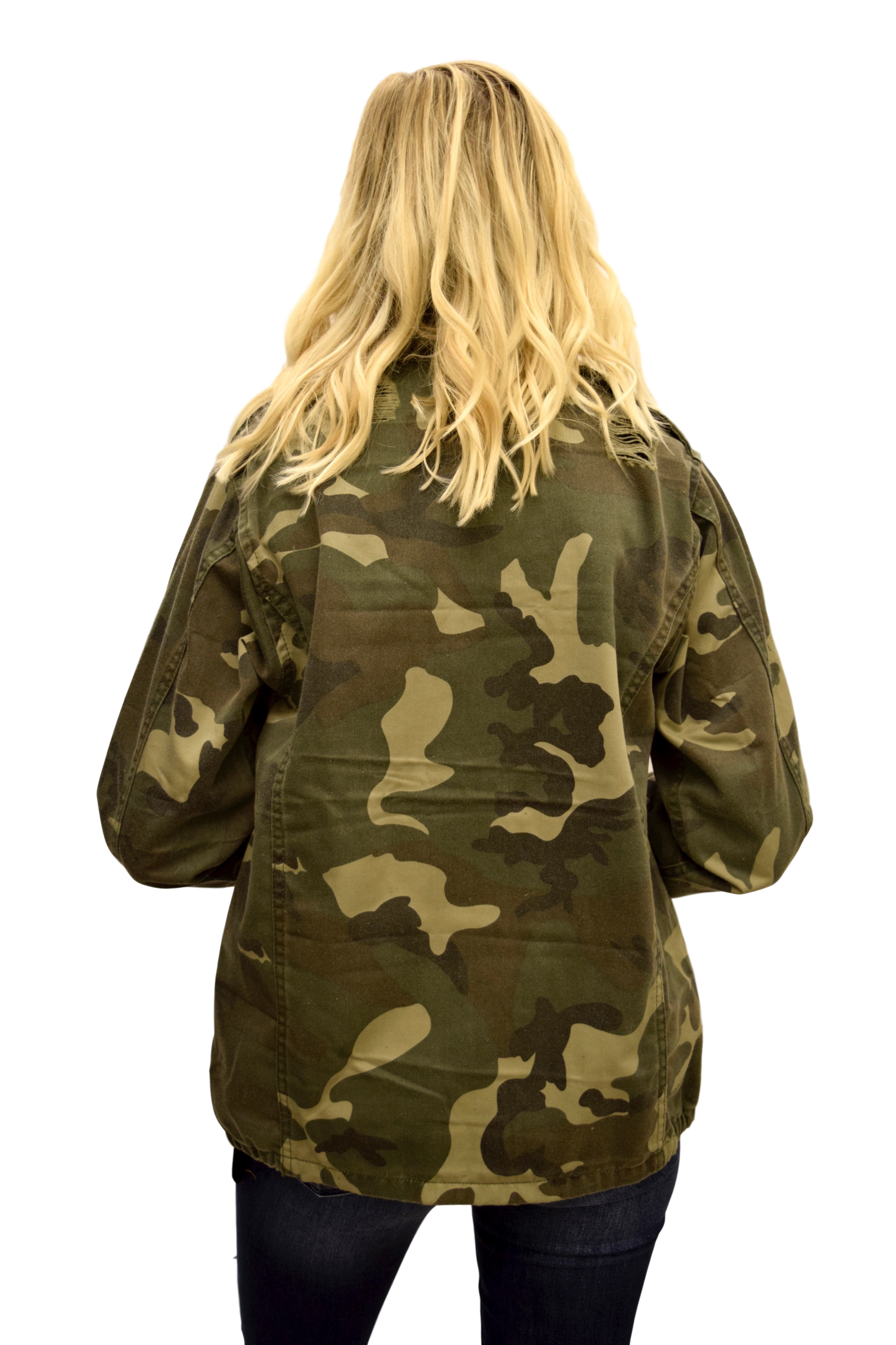 AT ATTENTION DISTRESSED MILITARY CAMO JACKET
