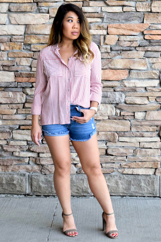 LADY BOSS RED STRIPED TOP