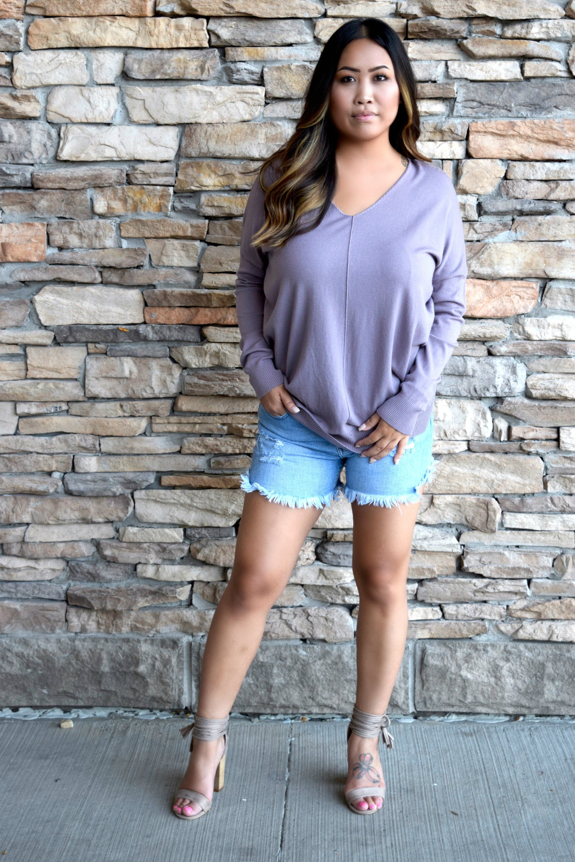 KNITFLIX AND CHILL SWEATER: LAVENDER